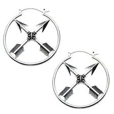 Arrow hoop earrings body piercing jewelry plug tunnel 20g silver  goth bow w122