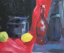Vintage gouache painting expressionist still life with bottles and lemons