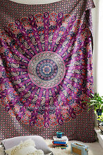 Purple Elephant Multicolor WallHanging Hippie Home Decor Ethnic Queen Tapestry