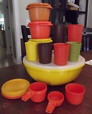 20 piece VINTAGE 1970's tupperware lot bowl cup measuring lid 274 886 1251 1348