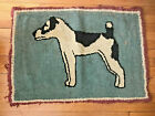 """Vtg Antique Hand Knotted Dog Throw Rug - 34"""" x 24.5"""" -  As Found"""