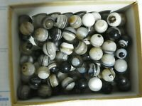 "Agate Marbles 6 of 5/8 to 3/4"" Natural Gemstones Mostly Banded Vintage Mix Grade"