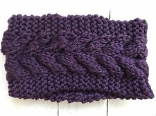 Ladies Womans Knitted Purple Headband Ear Warmer Ski Winter Hair Warmer
