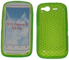 Patrón de TPU Gel suave Caso Protector Cubierta Verde Jalea Para HTC Desire S G12 S510e