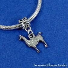 Silver LLAMA ALPACA Dangle Bead CHARM fits EUROPEAN Bracelet *NEW*