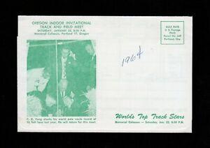 >orig. 1964 OREGON INDOOR TRACK & FIELD MEET Ticket Application C.K. Yang photo