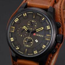 Curren Mens Sport Wrist Watch Fashion Brown Leather Date Black Analog Quartz