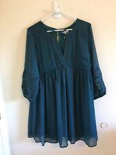 Womens Sz S Jodifl Tunic Dress Shift Mini Dress Blue Boho Babydoll Crochet New
