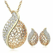 Teardrop Seashell Conch Shaped Gold Plated Style Necklace & Earring Jewelry Sets
