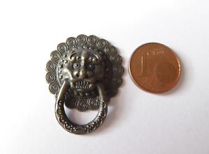 Türklopfer Türgriff Löwe Metall Puppenstube Puppenhaus Miniatur 1:12 24mm