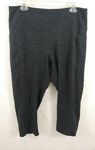 RBX Womens Athletic Capri Pants 1X Leopard Animal Print Gray Black Stretch