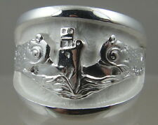 US Navy Licensed submarine dolphin regulation ring solid .925 sterling size12.5