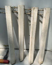 "4 Wooden 21.5"" White Table Legs Square Wood Salvage Parts w/ Threaded Bolts"