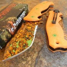 ZOMBIE HUNTER Orange SKULLS Spring Assisted Opening ORANGE Pocket Knife NEW