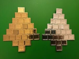 4 Christmas Advent Calendar Tree Metallic Silver or Gold Die Cut Out Card Making