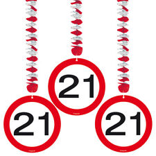 21ST BIRTHDAY PARTY SET 3 HANGING DECORATIONS AGE TRAFFIC SIGN