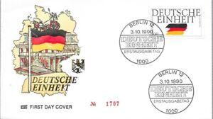 """Ersttagsbrief """"Deutsche Einheit"""", FDC Nr. 1707, ungelaufen, gestempelt"""
