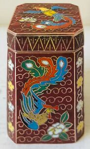 Vintage Chinese Cloisonné Enamel Bird of Paradise Snuff Box