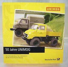 Brekina 1//87 set 50 años Unimog MB Unimog 411 camastro /& recuadro OVP #297