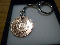 Old Half Penny (George 6th) Sailing Ship Keyring - Gift Box - Free UK Postage