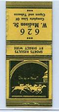 SPORTS RESULTS BY DIRECT WIRE MATCHBOOK COVER