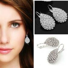 Fashion Women Silver Plated Ear Hook Crystal White Rhinestone Earring Jewel LDUK