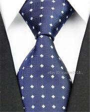 Classic Blue White Wedding Silk Tie Mens Slim Business Necktie Groom Skinny Ties