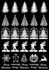 "Christmas Tree 30 pcs 7/8"" White Fused Glass Decals 5"" X 3-1/2"" Card 18CC1081"