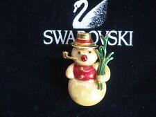 VINTAGE SWAROVSKI SWAN SIGNED CRYSTAL SNOWMAN  BROOCH PIN NEW RARE