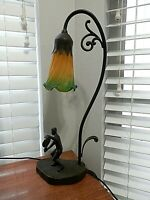 Vintage Table Desk Lily Pad Lamp Green Amber Glass Single Shade w/ tennis player
