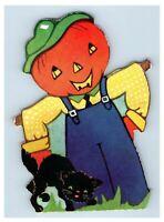 1940s Die-Cut Halloween Card Party Invitation Pumpkin JOL Scarecrow Black Cat