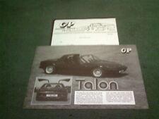1983 GP Talon-VW Beetle Based Kit Voiture UK notice + liste de prix-Brochure