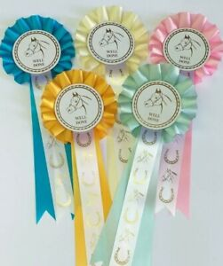 Horse Rosettes  Well Done With Horse Printed Ribbons Pack Of 5 FREE POSTAGE