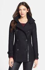 Women's Mackage Leather Trim Wool Blend Black Peacoat  sz S/P