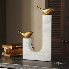 "DESIGNER XXL 13"" MODERN ART BRASS SONGBIRDS SCULPTURE STATUE STONE MARBLE BASE"