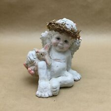 Vintage Kristin Haynes Dreamsicles Figurine With Rabbit Cast Art Angel 1991