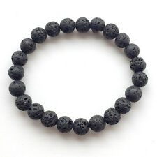 Lava Rock Stone Bead Bracelet Power Grounding