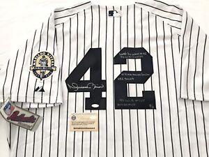 NEW YORK YANKEES MARIANO RIVERA SIGNED INSCRIBED CAREER STATS JERSEY STEINER 8/8
