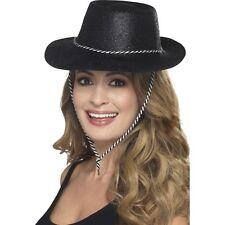 12 x Black Glitter Hat Cowboy Fancy Dress Women's Hen Do Western Party Cowgirl