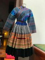 Vintage tribal Hmong women natural traditional set with embroider of Hill Tribe