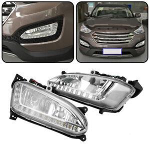 2x LED Tagfahrlicht DRL Nebelscheinwerfer Abdeckung für Hyundai Santa Fe/IX45