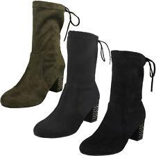 Ladies Black/Khaki Mid Calf Heeled Ankle Boots F50857