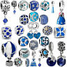 European Blue Silver Charms Dangle Bead for Female Bracelet Chain Necklace DIY S