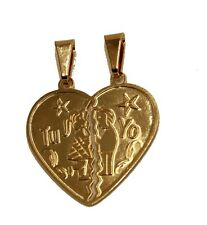 Broken Heart Tu y Yo Pendant 18k Gold Plated Pendant with 20 Inch Chain - Heart