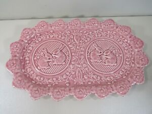 """Pink Bordallo Pinheiro Portugal 13 3/8"""" Serving Plate Tray with Rabbits #3"""