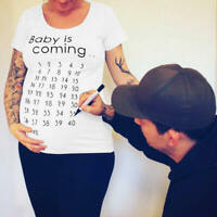 Maternity T-Shirt Tops Baby is Coming Mama Clothes Women Calendar Countdow BQQ