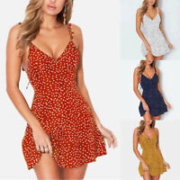 Womens Boho Floral Summer V Neck Party Evening Short Mini Beach Dress Sundress