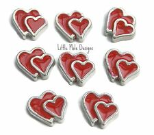 Red Double Heart Floating Charm For Living Memory Locket Pendant Necklace Love