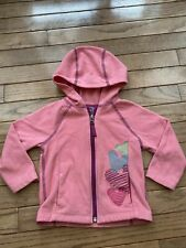 REI Fleece Hooded Zipper Jacket, Girls, Size 18M, Pink and Hearts.