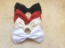 4 HANDMADE FABRIC LACE HAIR BOWS RED/BLACK/IVORY/ WHTIE GIRL  4X6 ALLIGATOR CLIP